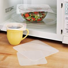 Splatter-proof reusable food covers for the microwave: cut plastic cutting mats (made from food-grade silicone) from the dollar store into appropriate sizes and store next to microwave to have on hand to prevent messes.