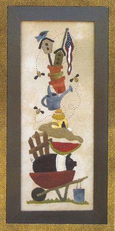Primitve Folk Art Wool Applique Pattern A TIME by PrimFolkArtShop