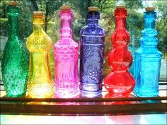 SHOWER: Table Decos - colorful glass bottles
