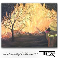 Fireman, Firefighter Painting, Original 16x20 Canvas Art Fire fighter by Todd Evans Art
