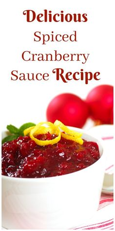Can you believe Thanksgiving is this Thursday, I have a delicious recipe for Spiced Cranberry Sauce that is so simple to make! Spiced Cranberry Sauce Ingredients: 2 Cups fresh or frozen cranberries 2 Tablespoons Sugar in The Raw 1 Teaspoon. Top Recipes, Quick Recipes, Delicious Dinner Recipes, Yummy Food, Yummy Recipes, Bulk Food, Holiday Recipes, Christmas Recipes, Sauces