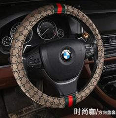 $52.28 Classic Gucci Linen Ice silk Auto Car Steering Wheel Covers 15 inch 38CM - Brown, Selected high quality ice silk + linen fabrics, High texture, soft and comfortable, breathable, anti-static, feel very fine, soft, not easy to fall off.