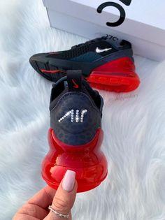 Swarovski Nike Womens Girls Air 270 Customized With Swarovski Crystals Bling Nike Shoes Black Red, Bling Nike Shoes, Cute Nike Shoes, Cute Sneakers, Nike Air Shoes, Sneakers Nike, Casual Sneakers, Edgy Shoes, Black Shoes, Women's Shoes