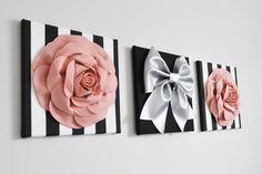 Blush Roses and Silver Bow Black Stripes Floral Home Decor Set Home Decor Sets, Wall Decor Set, Wall Art Sets, Room Decor, Damask Wall, White Damask, Felt Flowers, Paper Flowers, Paper Flower Wall