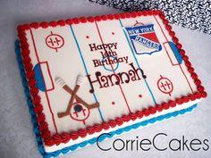 Hockey By Corrie Cakesdecorcom Cake Decorating Website Picture Hockey Birthday Cake, Hockey Birthday Parties, Hockey Party, 10th Birthday, Birthday Cakes, Birthday Ideas, Hunting Birthday, Sports Birthday, Rink Hockey
