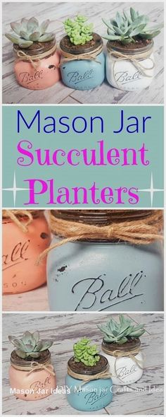 How cute are these mason jar succulent planters! Rustic plant holders that are DIY homemade. : How cute are these mason jar succulent planters! Rustic plant holders that are DIY homemade. Mason Jar Sconce, Ball Mason Jars, Mason Jar Gifts, Crafts With Mason Jars, Mason Jar Succulents, Succulent Planters, Garden Planters, Mason Jar Plants, Herbs Garden