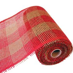 "Checked Paper Mesh Color: Red, Natural 10"" x 10 yd Material: Paper   See more styles and color at http://www.trendytree.com  #trendytree #papermesh"
