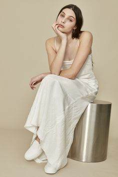 full length ivory Isabelle slip dress