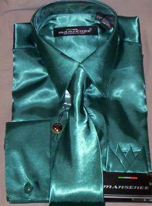 Men's Emerald Green French Cuff Satin Dress Shirt & Tie