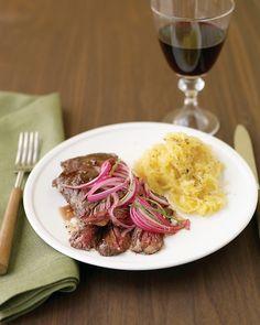 Skirt Steak with Pickled Onion and Spaghetti Squash - Martha Stewart Recipes