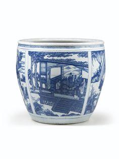 Grande vasque en porcelaine bleu blanc Dynastie Qing, époque Kangxi