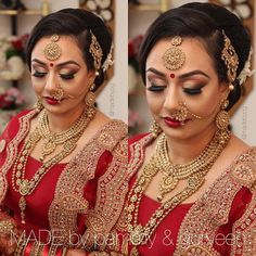 Niti's amazing wedding look from this past weekend! Dramatic gold smoky eye with a bit of shimmer on the lid. Perfect red lips to match!  Hair/Makeup/Photography: @madebypg Jewellery: @gehna.jewelry Outfit: @poojasboutique  _______________________________________________ For inquiries please contact madebypg@gmail.com _______________________________________________ #weddinghair #calgary #indianmakeup #makeupartist #indianbridal #bridalmakeup #yycmakeupartist #yycweddings #bridal_dreams…