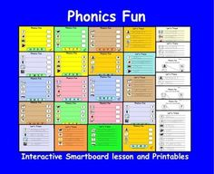Phonics Fun, Interactive Smartboard Lesson and Printables for Kinder Reading Resources, Reading Activities, Teacher Resources, New Teachers, Kindergarten Classroom, Help Teaching, Teaching Ideas, Teacher Notebook, First Grade Reading