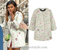 """Mindy's wearing a reworked version of this pink and green peony print coat - with added sparkly Salvador Perez signature buttons - in """"Danny Castellano Is My Nutritionist"""". /// Red Valentino Floral-Print Scuba Coat (was $950, sold out)"""