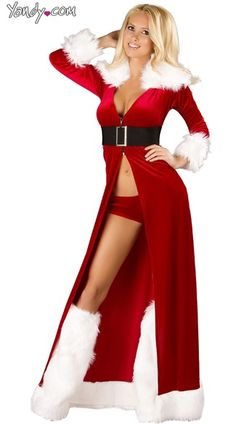 Shop for Christmas costumes like this Sexy Miss Claus Robe Set at Yandy! #Yandy