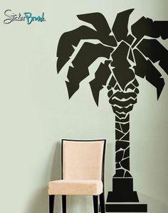 Palm Tree Wall Decor large palm tree wall decal vinyl - tropical wall decor, vinyl