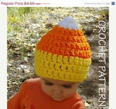 Kid's Candy Corn Halloween CROCHET Hat Pattern