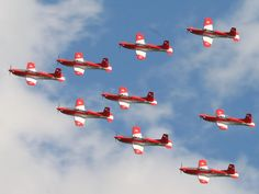 Swiss Air Force PC-7 Team. The Pilatus PC-7 Turbo Trainer is a two-seater designed for modern pilot training.