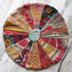 Small Patchwork Kantha Floor Pillow Cover Kantha Stitched Throw Pillow Cushion #Unbranded #Ethnic