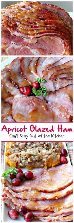 Amazing 3-ingredient sauce recipe with apricot preserves, brown sugar and dry mustard. Step-by-step instructions on cutting a spiral cut ham included.