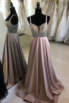 Sale Fancy Prom Dresses A-Line, Cheap Beaded Long Prom Dresses A Line V-Neck Spaghetti Strap Military Ball Gowns Straps Prom Dresses, Open Back Prom Dresses, V Neck Prom Dresses, Prom Dresses For Teens, Prom Dresses 2018, Beaded Prom Dress, A Line Prom Dresses, Cheap Prom Dresses, Formal Evening Dresses