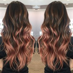 ee84df3310b4392a347c8fdb12643b24.jpg 750×750 pixels Gold Hair Colors, Hair Colours, Rose Gold Balayage Brunettes, Rose Gold Balyage, Balayage Hair Rose, Ombre Rose Gold Hair, Brown Hair Rose Gold Highlights, Ombre Hair Dye, Ombre Hair Copper