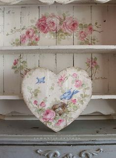 Shabby Chic Romantic Bluebird and Roses Heart - Debi Coules Romantic Art