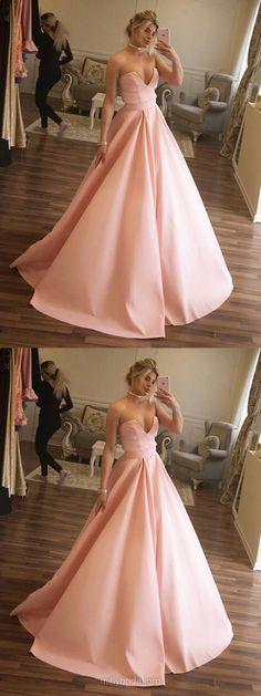 Pink Prom Dresses Long Formal Dresses Ball Gown, V Neck Military Ball Dresses Simple, Satin Pageant Dresses Beautiful Prom Dresses For Teens, Prom Dresses 2018, Long Prom Gowns, Cheap Prom Dresses, Ball Dresses, Ball Gowns, Dress Prom, Formal Dresses, Dress Long