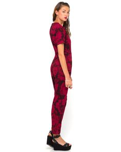 Buy Motel Lilah Full Length Jumpsuit in Tonal Floral Maroon at Motel Rocks