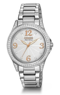 Share your fashionable point of view starting with this hip watch with Swarovski® crystals.