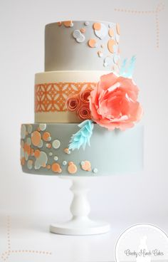 Peach Mint and Grey Wafer Paper Wedding Cake