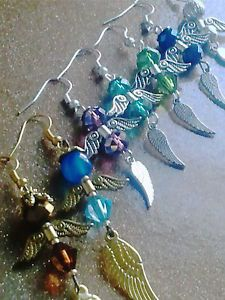 Guardian Angel Wing Charm Earrings Handmade Festive Party Jewellery