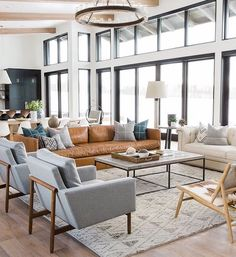 Modern Mountain Home Living Room Leather Sofa Black Framed Windows Studio McGee Mountain Living Room, Living Room Inspiration, Modern Floor Plans, Family Room, Home And Living, Home Living Room, Coastal Living Rooms, Modern Mountain Home, Room Design