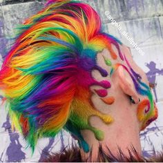 Regenbogen Haare♀️ Rainbow - rainbow - # hairstyles Kitchen Organization Ideas Article Body: Go thr Red Hair Color, Cool Hair Color, Weird Hair Colors, Hair Rainbow, Rainbow Clothes, Rainbow City, Shaved Hair Designs, Creative Hairstyles, Crazy Hair
