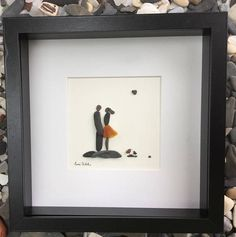 Pebble Art Romantic Couple in Shadow Box Frame Art Modern Wall Art Abstract Contemporary Signed. This signed original pebble art is made by me, Susi Uhl. The pebble art is a unique style made of pebbles collected by me. This would be a perfect wedding gift for couple, romantic pebble art,