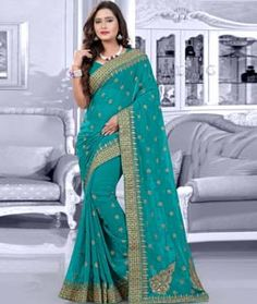 Buy Turquoise Faux Georgette Saree With Blouse 75592 with blouse online at…