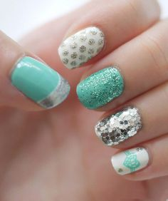 Teal Nails With Silver Designs