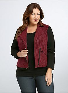 "<p>Check mate, this is one look we're saying yaass to. A moto style gets cozy thanks to a red and black checkered knit. Stretchy black sleeves are a sleek contrast to the quirky print, but the moto details (zip pockets, moto collar, zip front) add a tough touch.</p><p> </p><p><b>Model is 5'9"", size 1</b></p><ul>	<li>Size 1 measures 23 3/4"" from shoulder</li>	<li>Polyester/cotton/spandex</li>	<li>Wash cold, dry low</li>	<li>Imported plus size jacket</li></ul>"