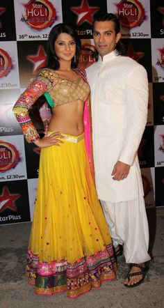 Karan Singh Grover with Jennifer Winget. Such a Beautiful & Colourful Embroidered Yellow #Lehenga.
