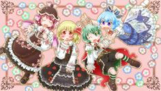 4girls :d ;o animal_ears antennae belt blonde_hair blouse blue_eyes blue_hair blush border bow brown_hair cape cirno dress drooling floral_background flower frilled_bow frilled_dress frilled_ribbon frilled_skirt frilled_sleeves frills green_eyes green_hair hair_bow hair_ribbon long_sleeves matty_(zuwzi) multiple_girls mystia_lorelei one_eye_closed open_mouth puffy_short_sleeves puffy_sleeves red_eyes ribbon ribbon-trimmed_sleeves ribbon_trim rumia short_hair short_sleeves shorts singing…