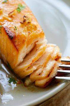 Honey Mustard Baked Salmon - moist, juicy and best baked salmon ever with honey mustard. Takes 10 mins active time and dinner is ready!   rasamalaysia.com