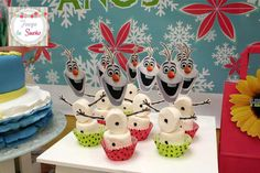 Olaf marshmallows at a Frozen Fever birthday party! See more party planning ideas at CatchMyParty.com!