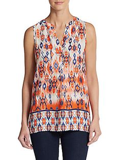 Sleeveless Ikat-Print Tunic