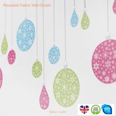 Turquoise, Pink and Green Christmas Bauble FabriStick® Wall Stickers