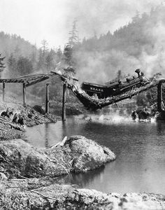 TRAIN WRECK...Thank goodness for new bridges!  ~ Wow, if this is real, I wish the pinner would have said where this was, & when. So sad...