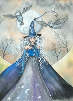 Molly Harrison Witch and her two pets - witch and owls