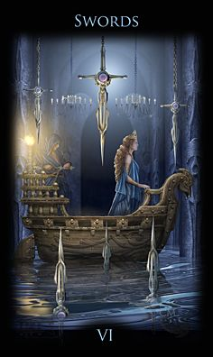 Legacy of the Divine Tarot / Gateway to the Divine Tarot by Ciro Marchetti - 6 of Swords