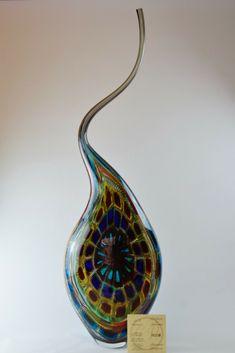 Glass Lampwork Murano Glass Vase Artistic Single Signed D'Este E Zane