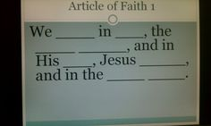 """""""Articles of Faith"""" Memory Game using PowerPoint"""