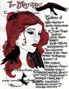 The Morrigan Raven Goddess Art Parchment by ThePhantomQueensLab